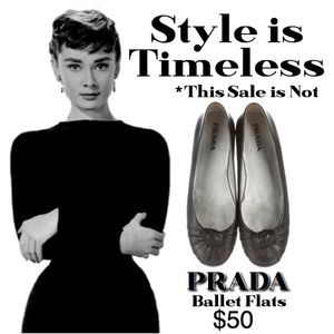 PRADA LEATHER ROUND TOE BALLET FLAT SIZE 7 WIDE